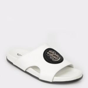 Papuci albi, 17575, din piele naturala