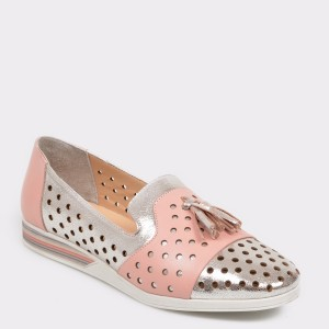 Pantofi FLAVIA PASSINI argintii, Mg077, din piele naturala