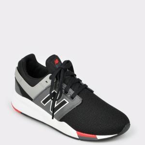 Pantofi sport pentru copii NEW BALANCE negri Gs247 din piele ecologica