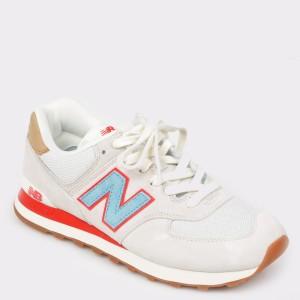 Pantofi sport NEW BALANCE albi, Ml574, din material textil
