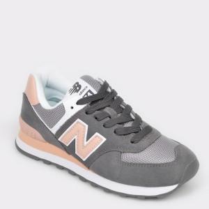 Pantofi sport NEW BALANCE gri, WL574, din material textil si piele naturala