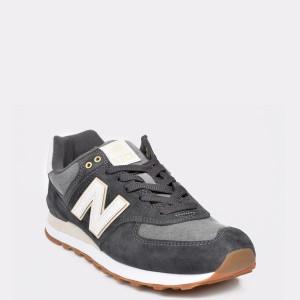 Pantofi sport NEW BALANCE gri, ML574, din material textil si piele intoarsa