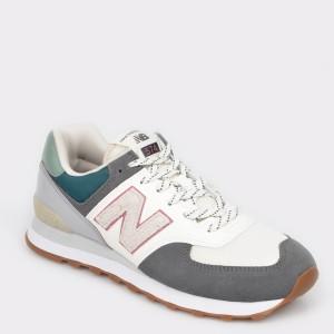 Pantofi sport NEW BALANCE albi, ML574, din material textil si piele intoarsa