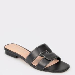 Papuci EPICA negri, 74564, din piele naturala