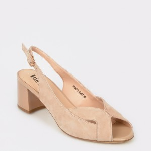 Sandale IMAGE nude, E1801Hr, din piele intoarsa