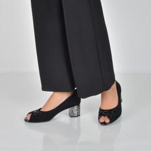 Pantofi EPICA negri, Da6638, din piele intoarsa