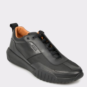 Pantofi sport HUGO BOSS negri, 7528, din piele naturala si material textil