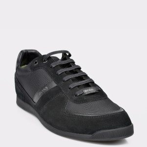 Pantofi HUGO BOSS negri, 7903, din piele ecologica