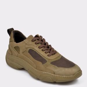 Pantofi Sport Otter Kaki, 80115, Din Material Textil Si Piele Naturala