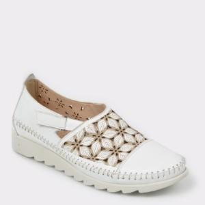 Pantofi Flavia Passini Albi, 62706l2, Din Piele Naturala