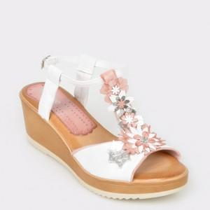 Sandale IMAGE albe, N544Se, din piele naturala