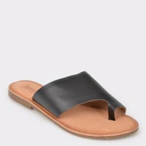 Papuci IMAGE negri, Sh14, din piele naturala