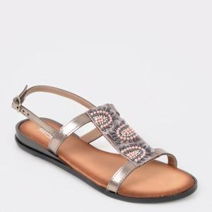 Sandale IMAGE gri, Sh13, din piele naturala