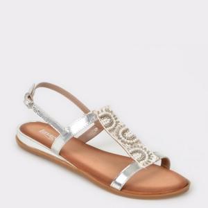 Sandale IMAGE argintii, Sh13, din piele naturala