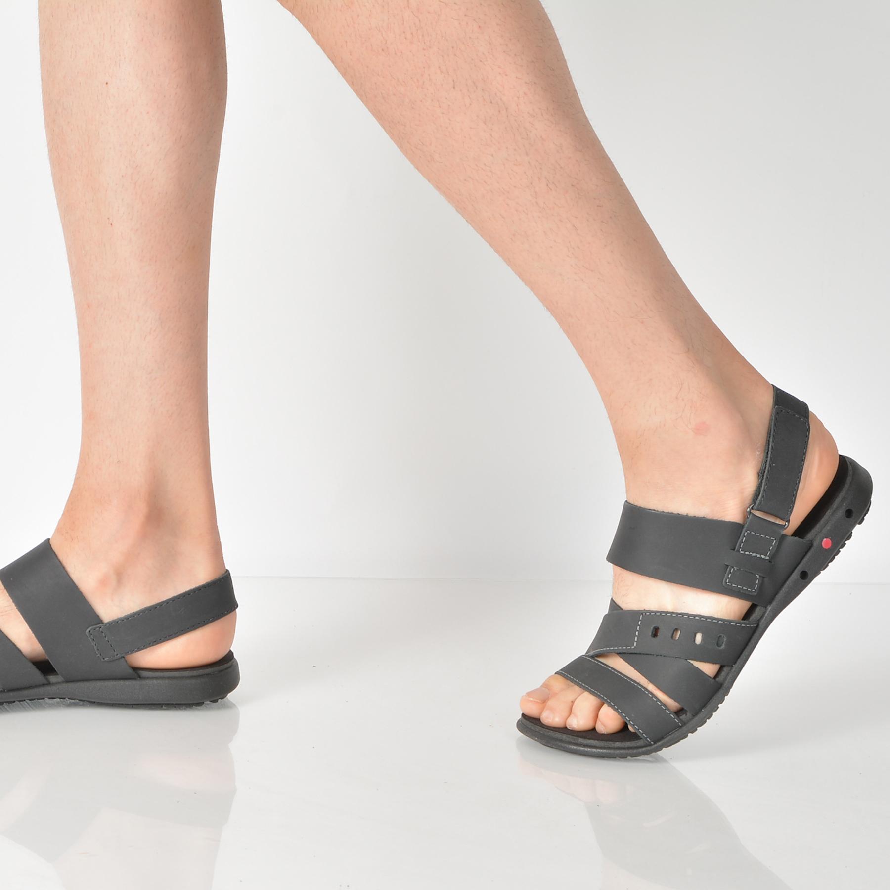 Sandale OTTER negre, 18103, din piele naturala