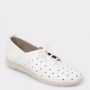 Pantofi FLAVIA PASSINI albi, Moz, din piele naturala