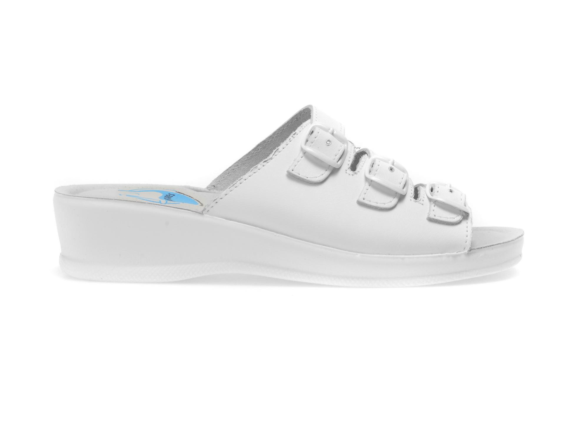 Papuci medicinali PLANTARES albi, 94099, din piele naturala
