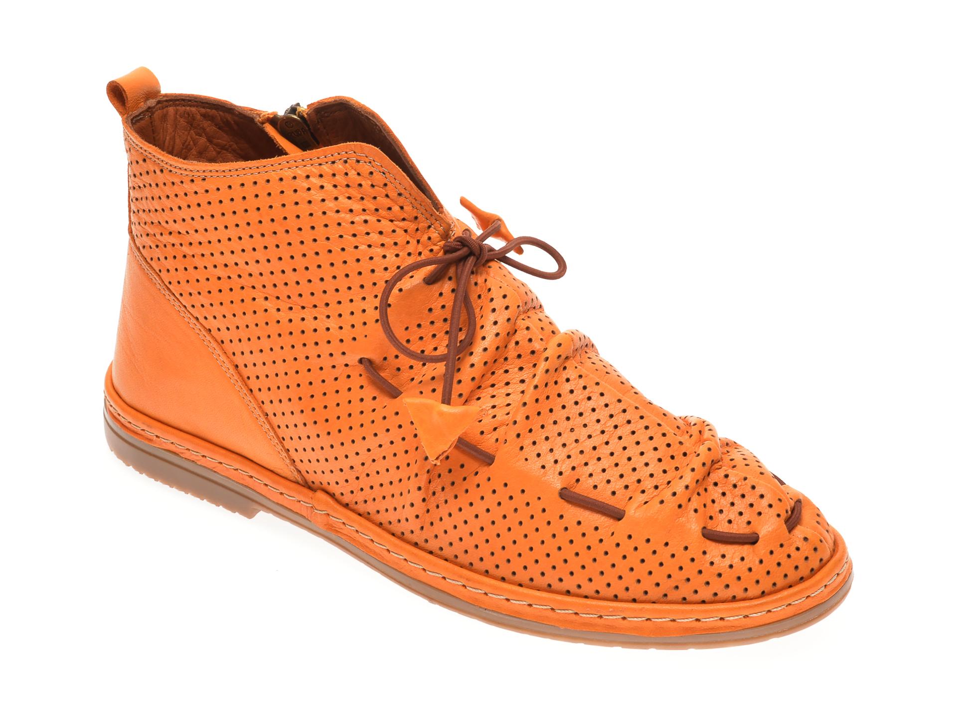 Ghete BABOOS portocalii, 1151704, din piele naturala imagine