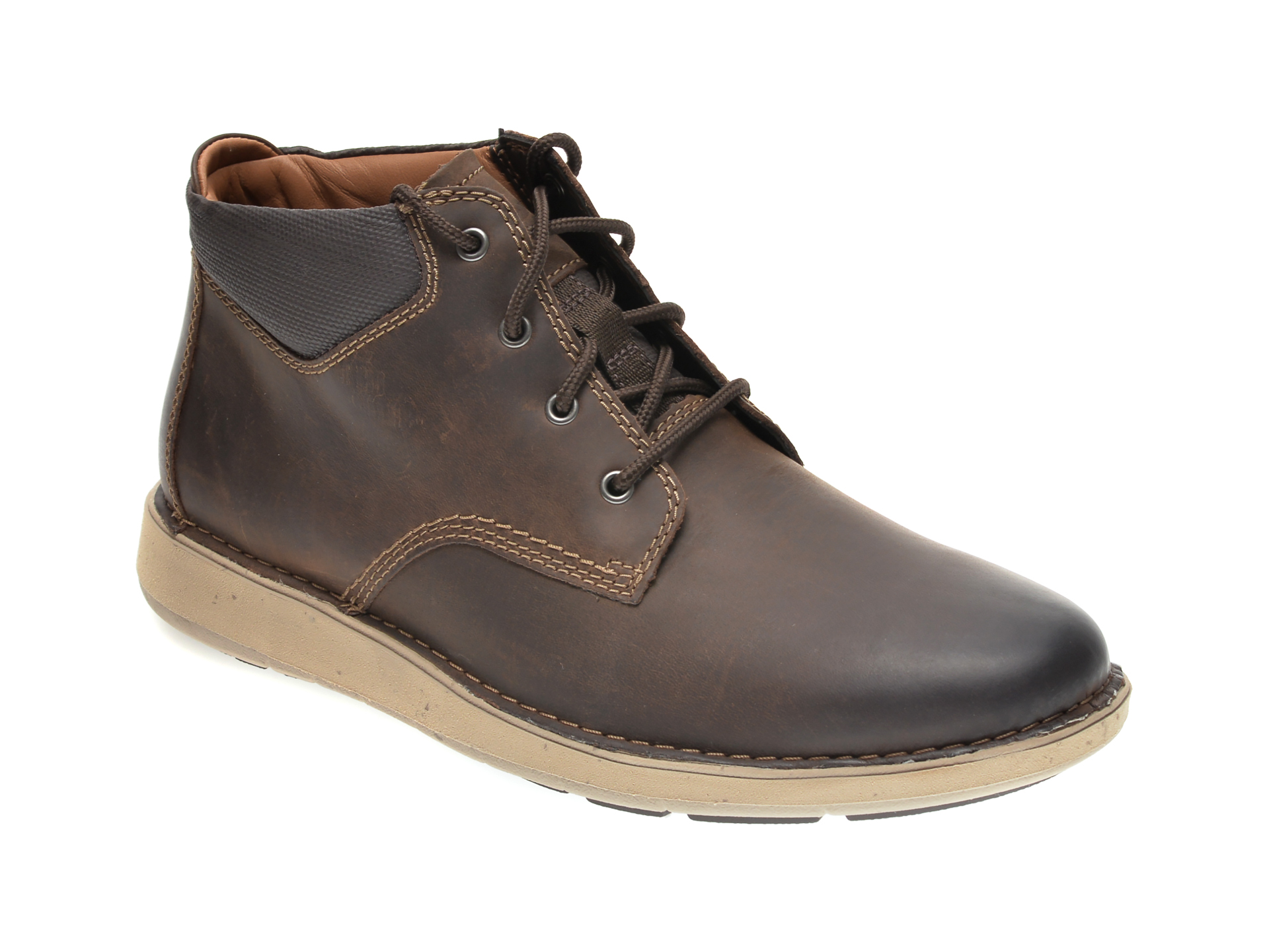 Ghete CLARKS maro, UN LARVIK TOP, din piele naturala imagine