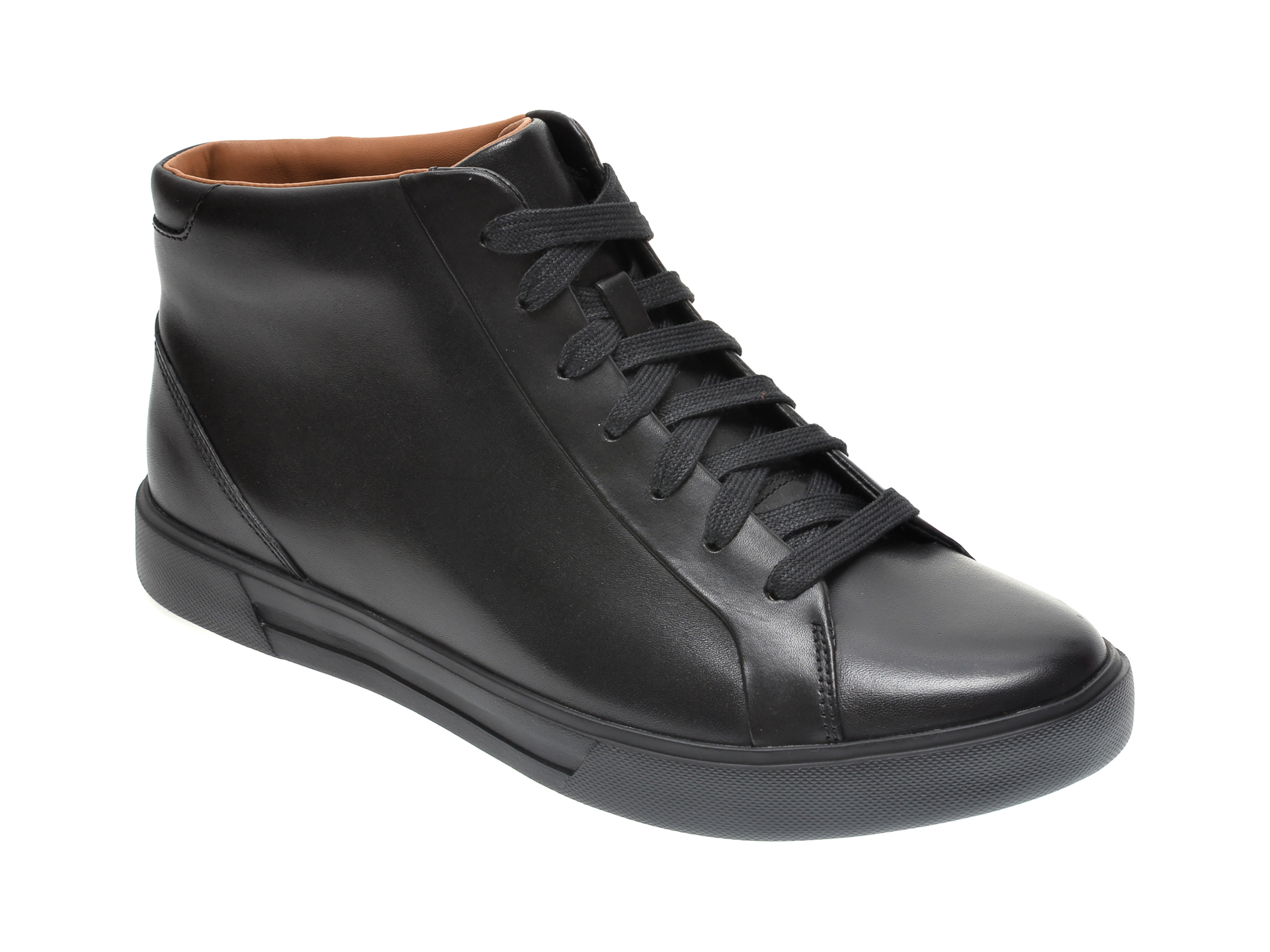 Ghete CLARKS negre, UN COSTA MID, din piele naturala imagine