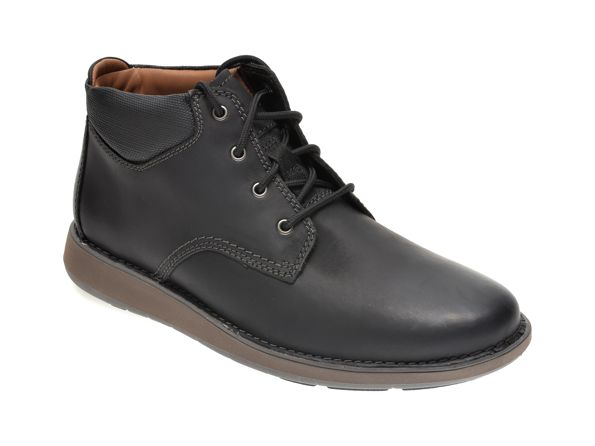 Ghete CLARKS negre, UN LARVIK TOP, din piele naturala imagine