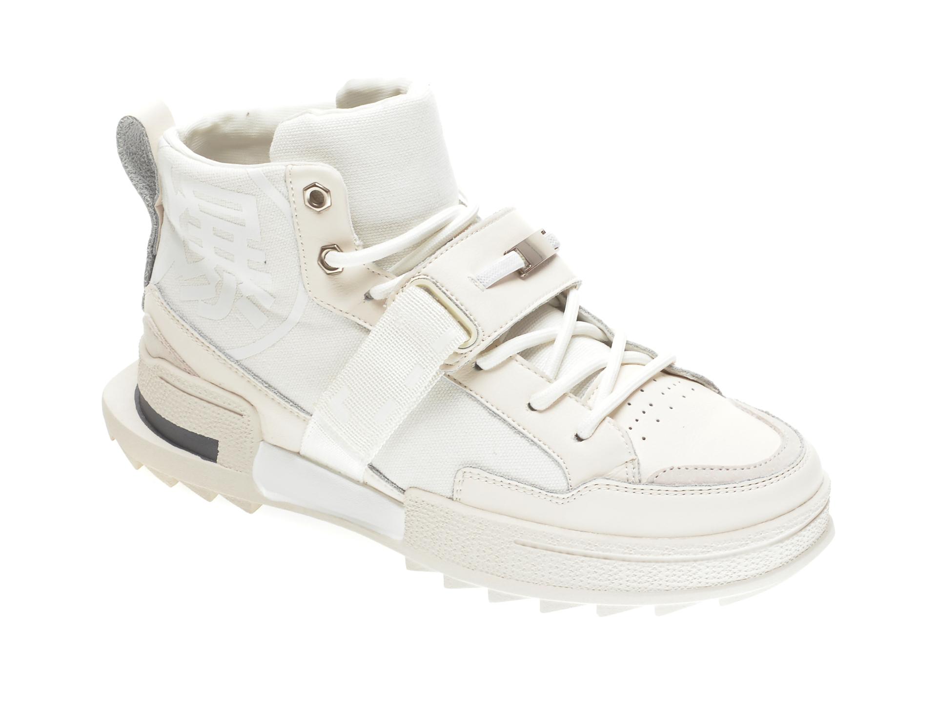 Ghete GRYXX albe, 3531, din material textil si piele naturala