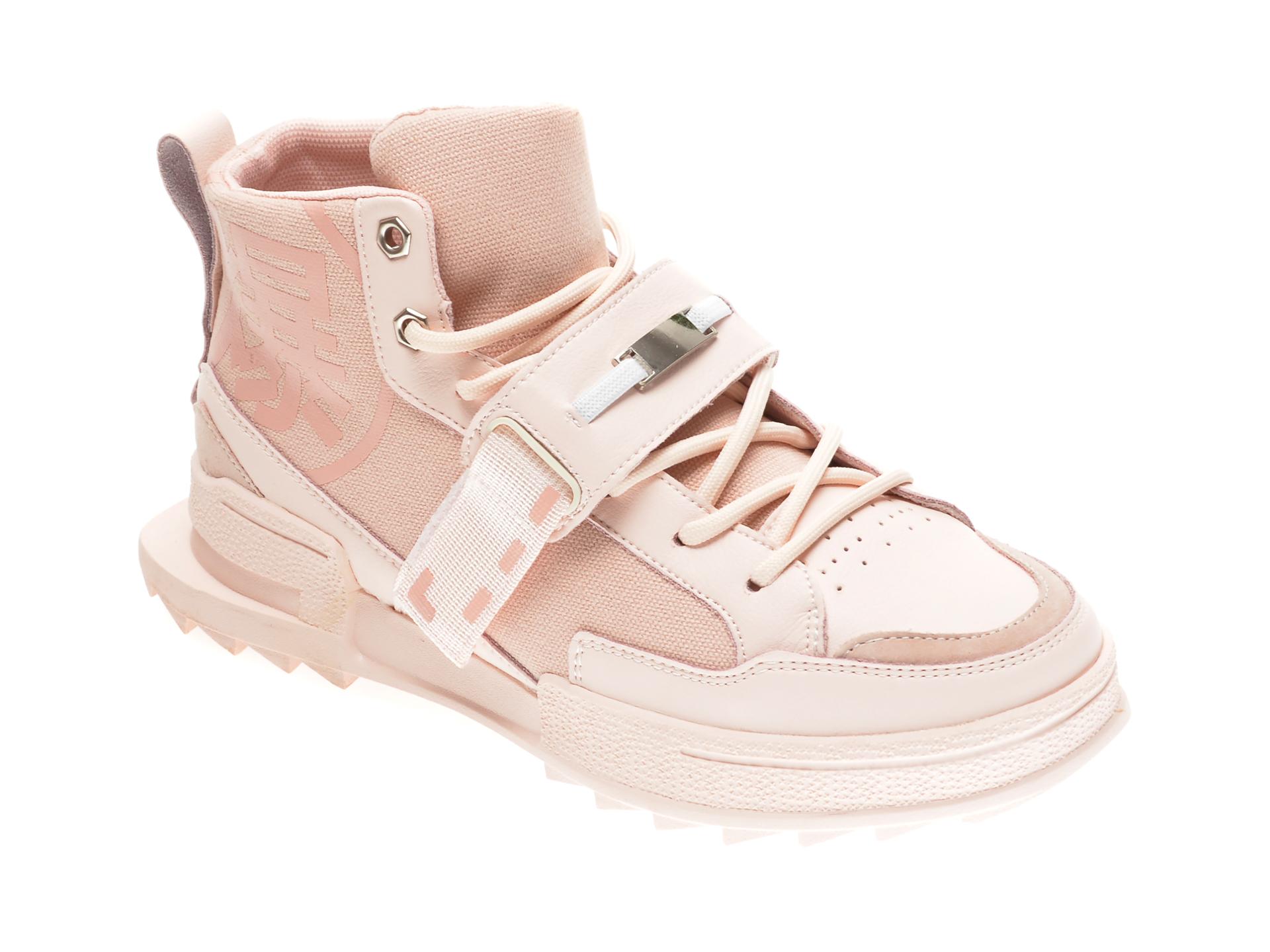 Ghete GRYXX roz, 3531, din material textil si piele naturala