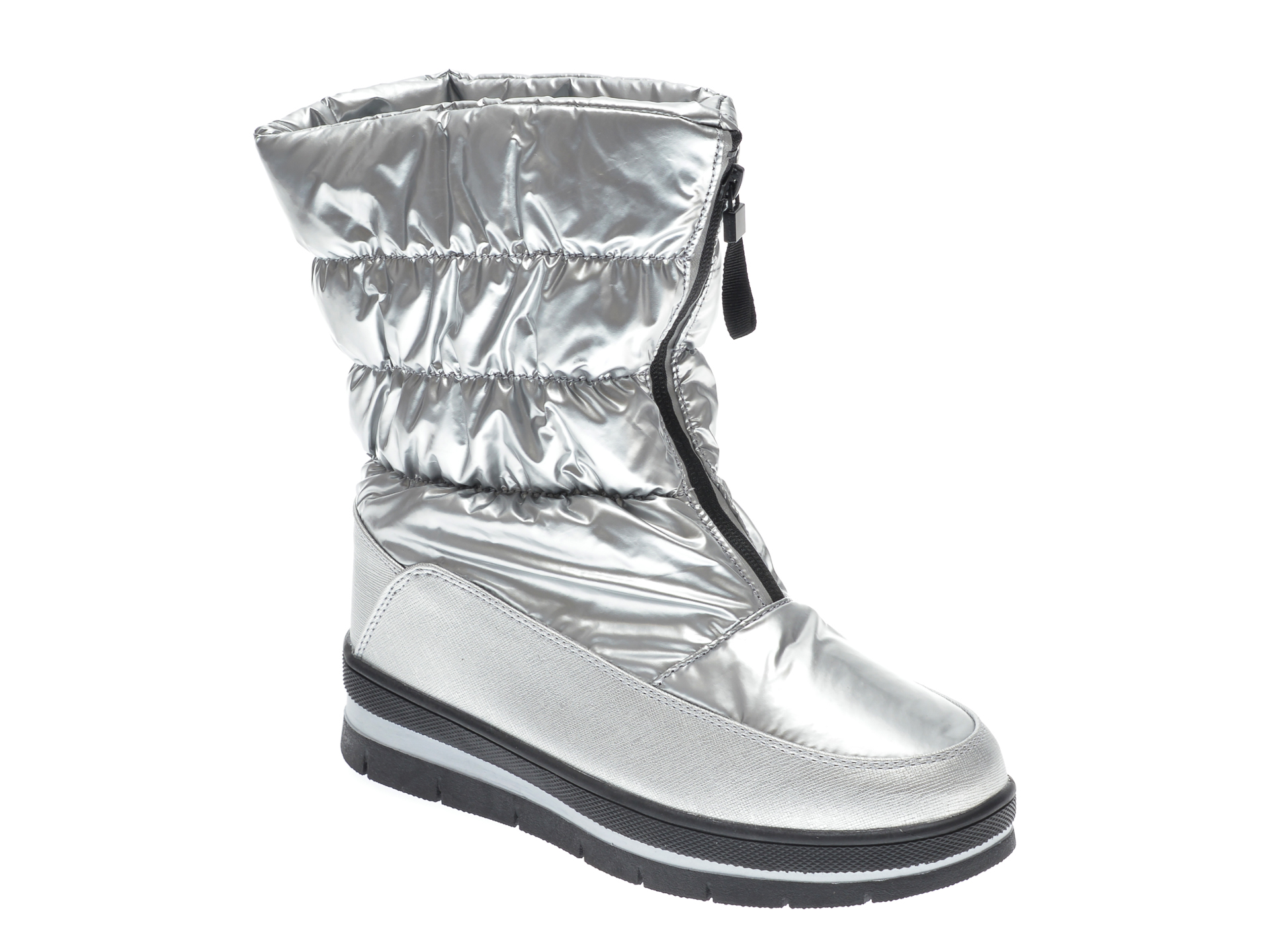 Ghete RIO FIORE argintii, 6497A, din material textil si piele ecologica