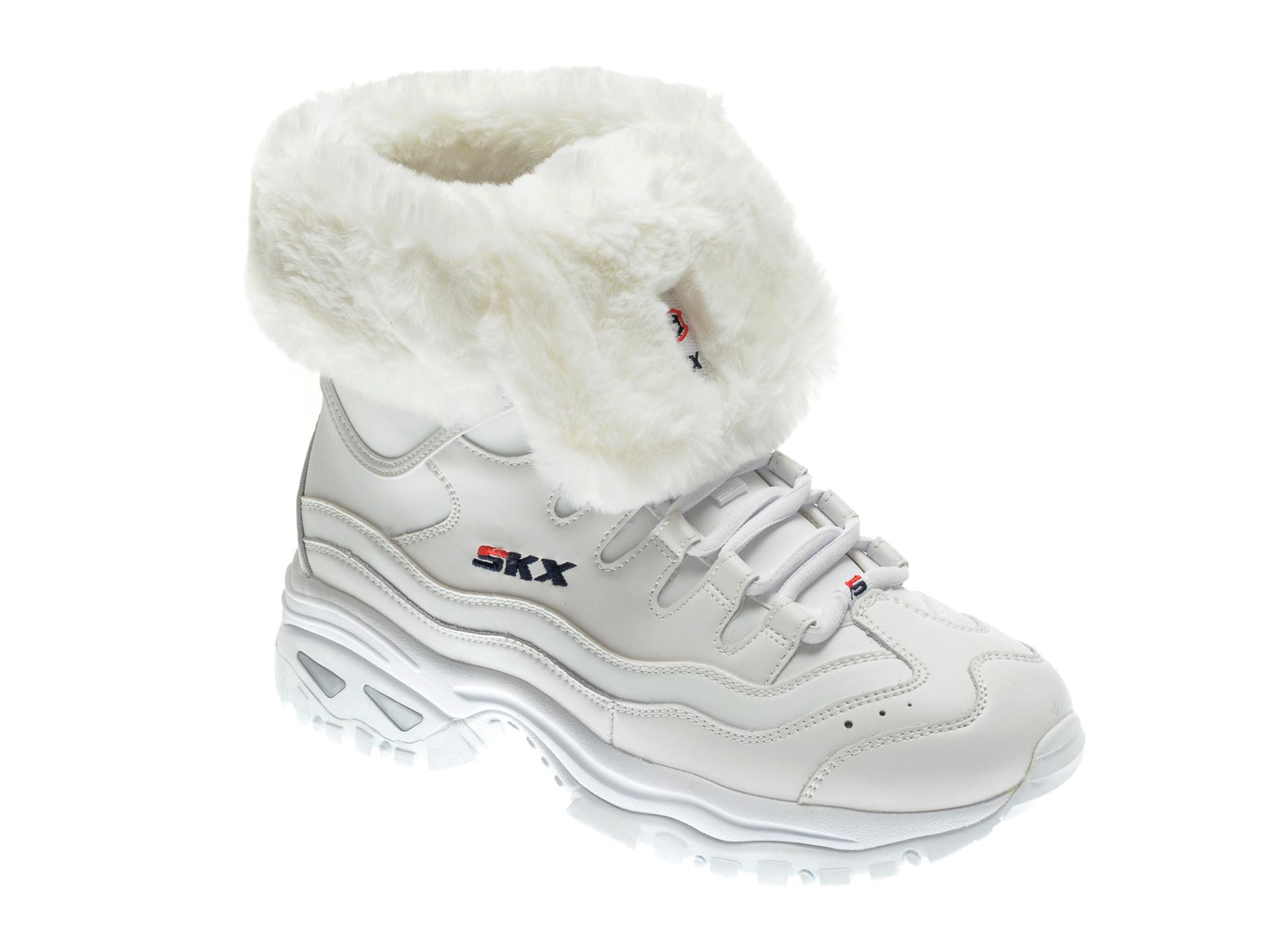 Ghete SKECHERS albe, ENERGY COOL DOWN, din piele naturala imagine otter.ro