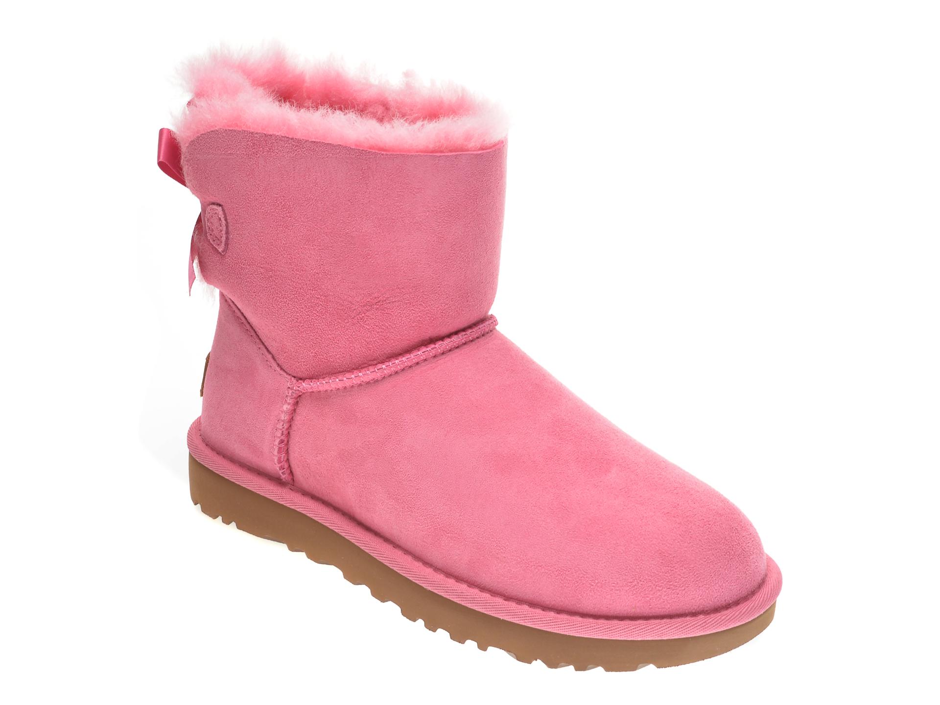 Ghete UGG roz, 1016501, din piele intoarsa New