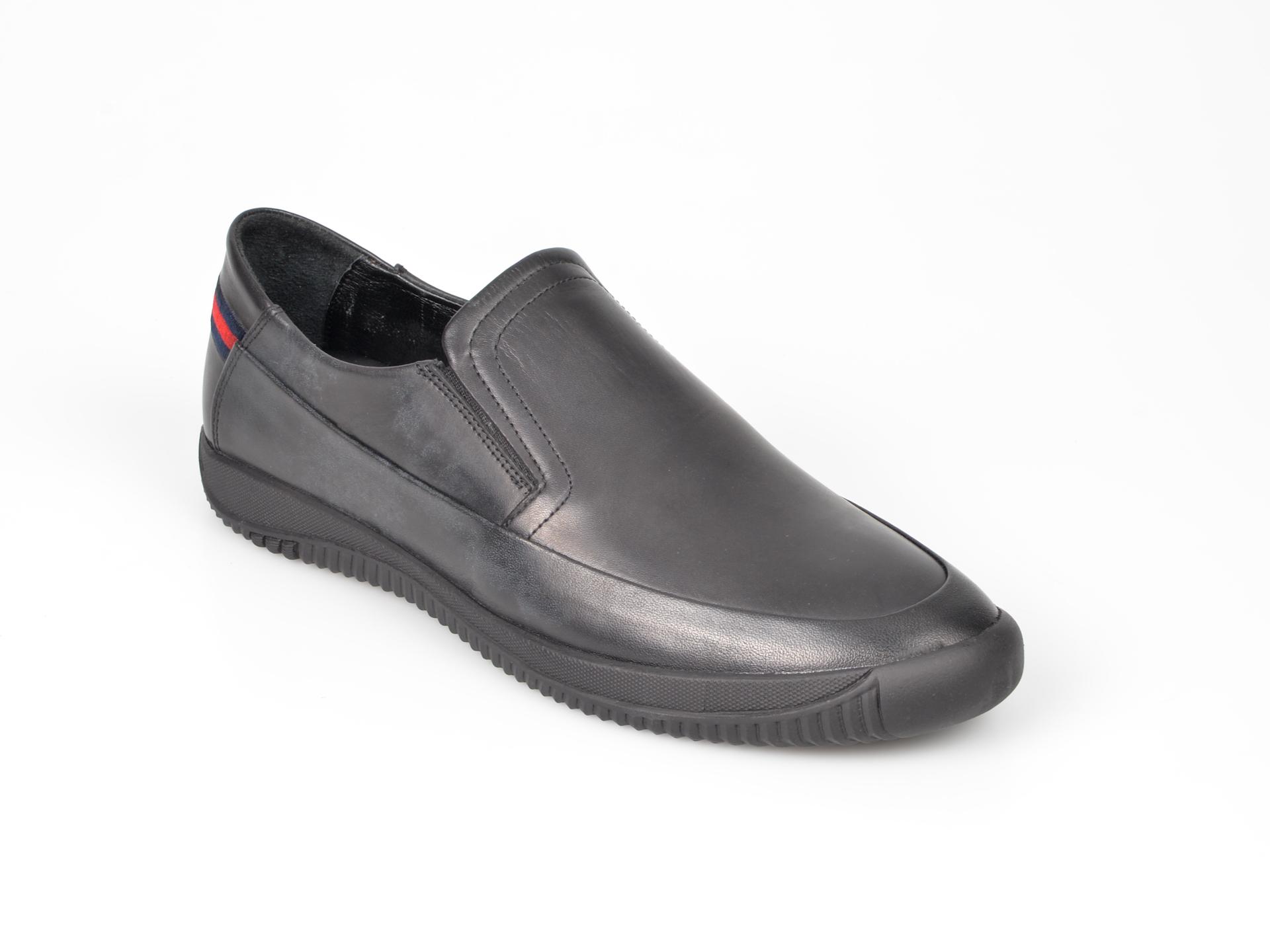 Pantofi Otter Negri, M5435, Din Piele Naturala