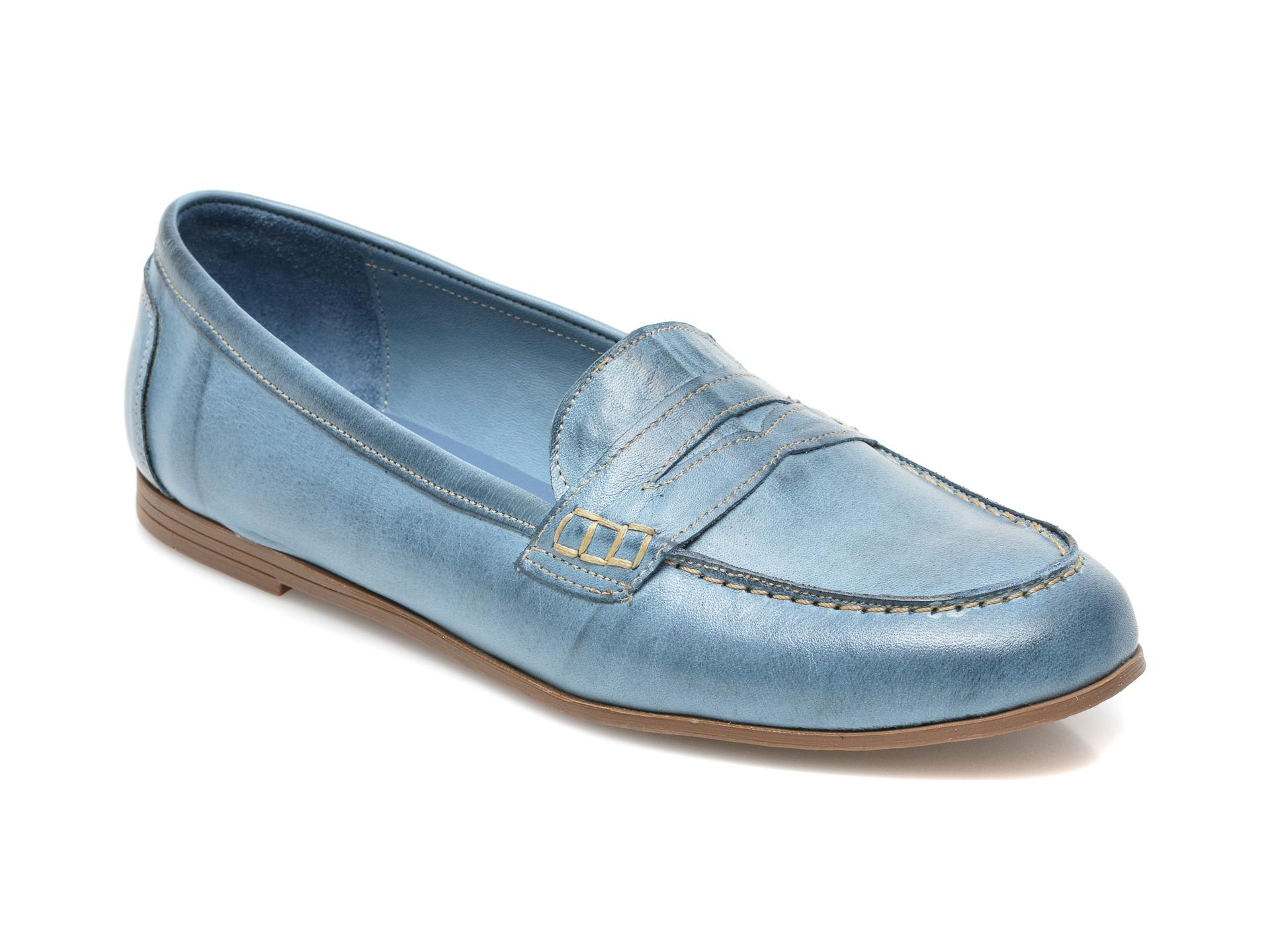 Mocasini FLAVIA PASSINI albastri, 20312, din piele naturala