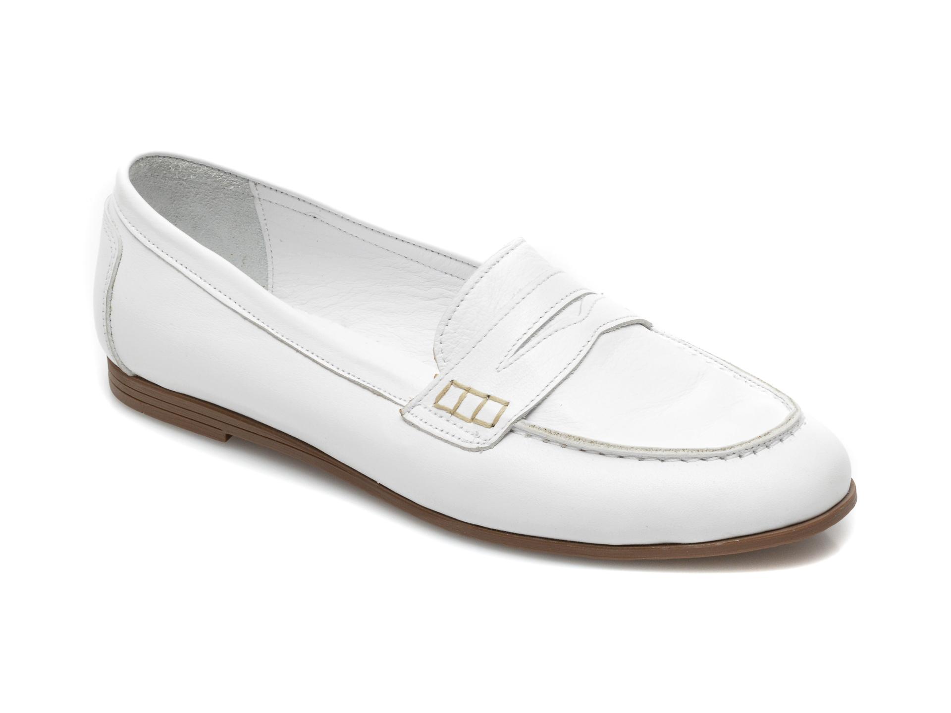 Mocasini FLAVIA PASSINI albi, 20312, din piele naturala