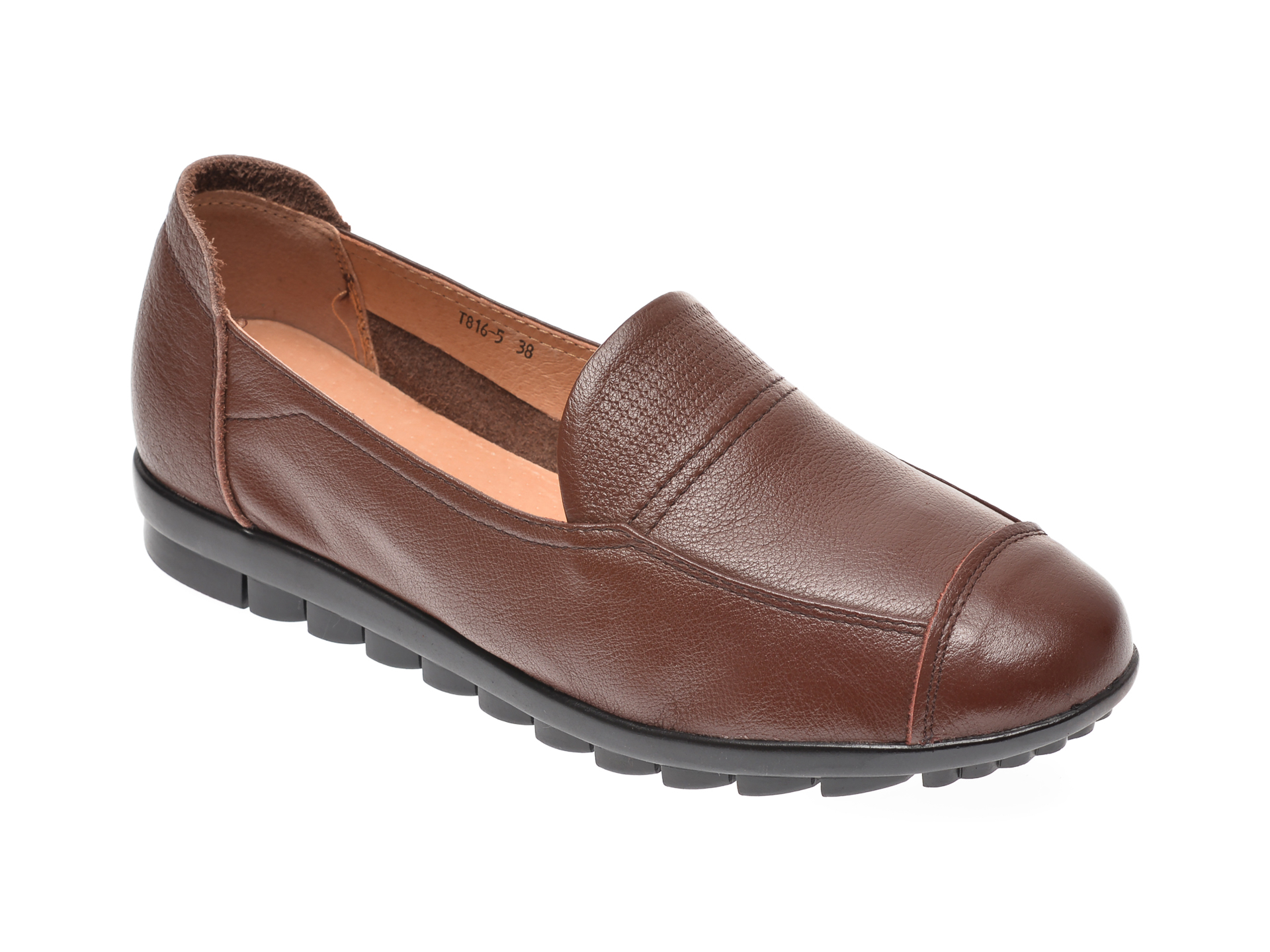 Mocasini PASS COLLECTION maro, T8165, din piele naturala