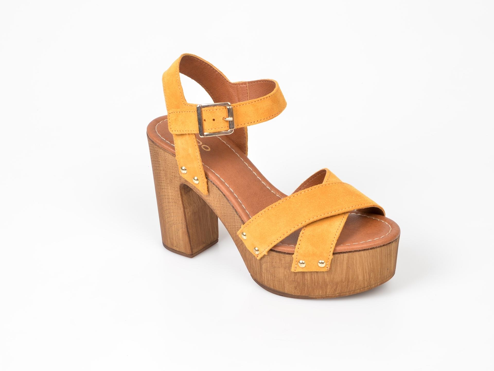 Sandale ALDO galbene, Deleniel, din piele naturala