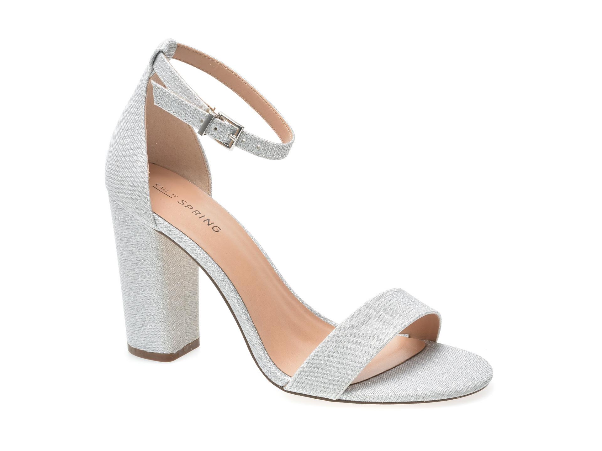 Sandale CALL IT SPRING argintii, Lore040, din piele ecologica
