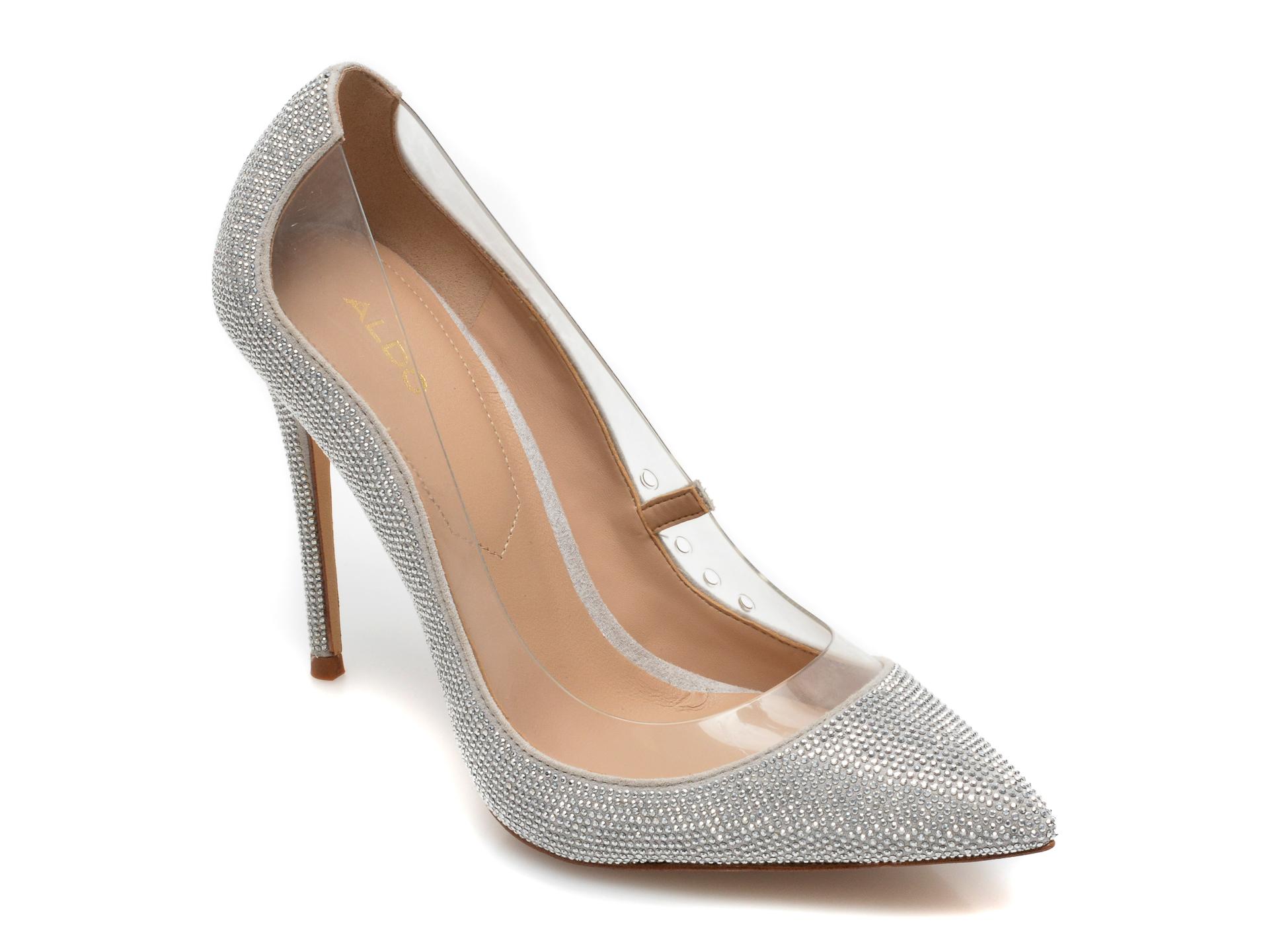 Pantofi ALDO argintii, Edulla042, din material textil