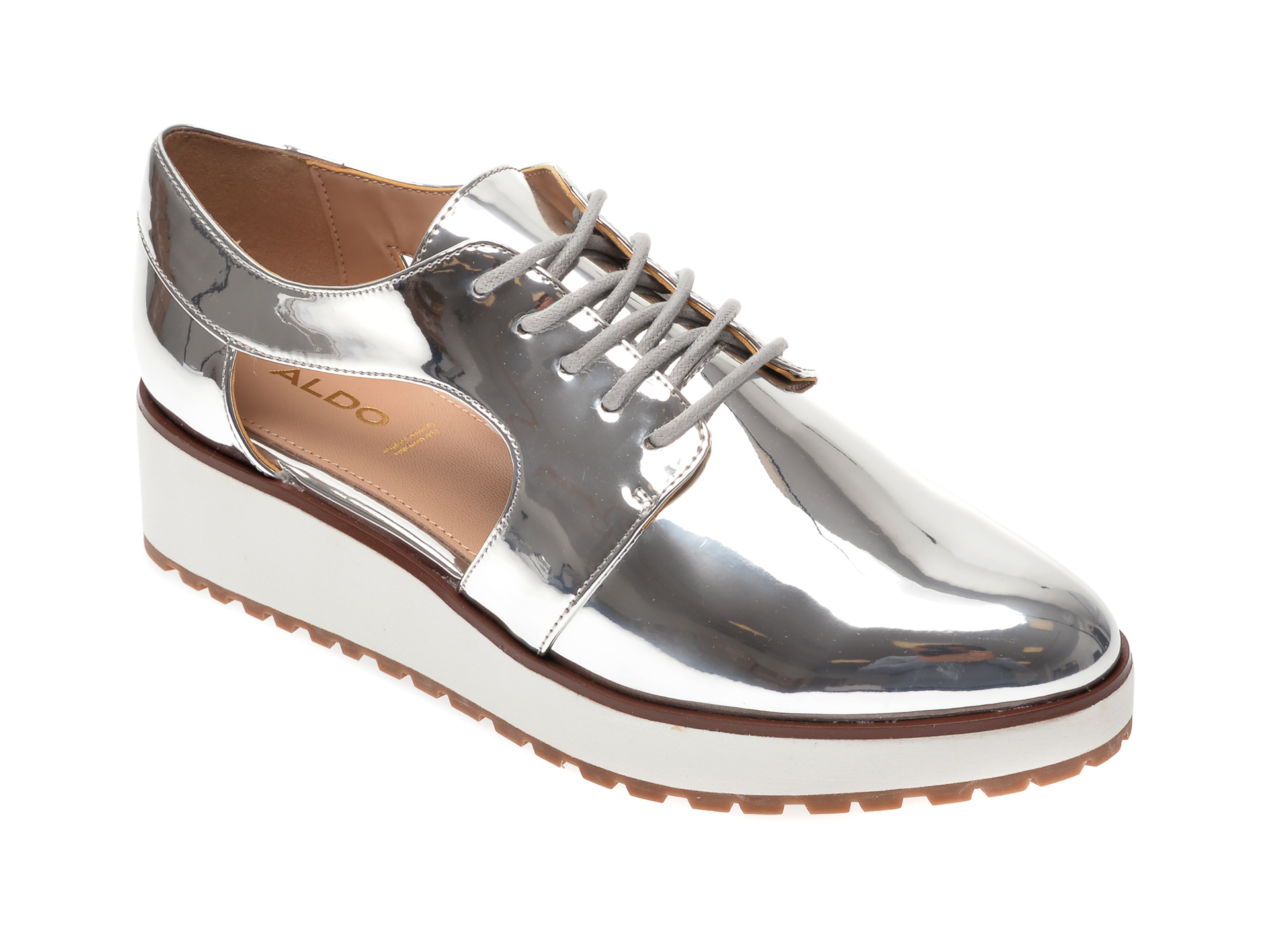 Pantofi Aldo Argintii, Loramy040, Din Piele Ecologica