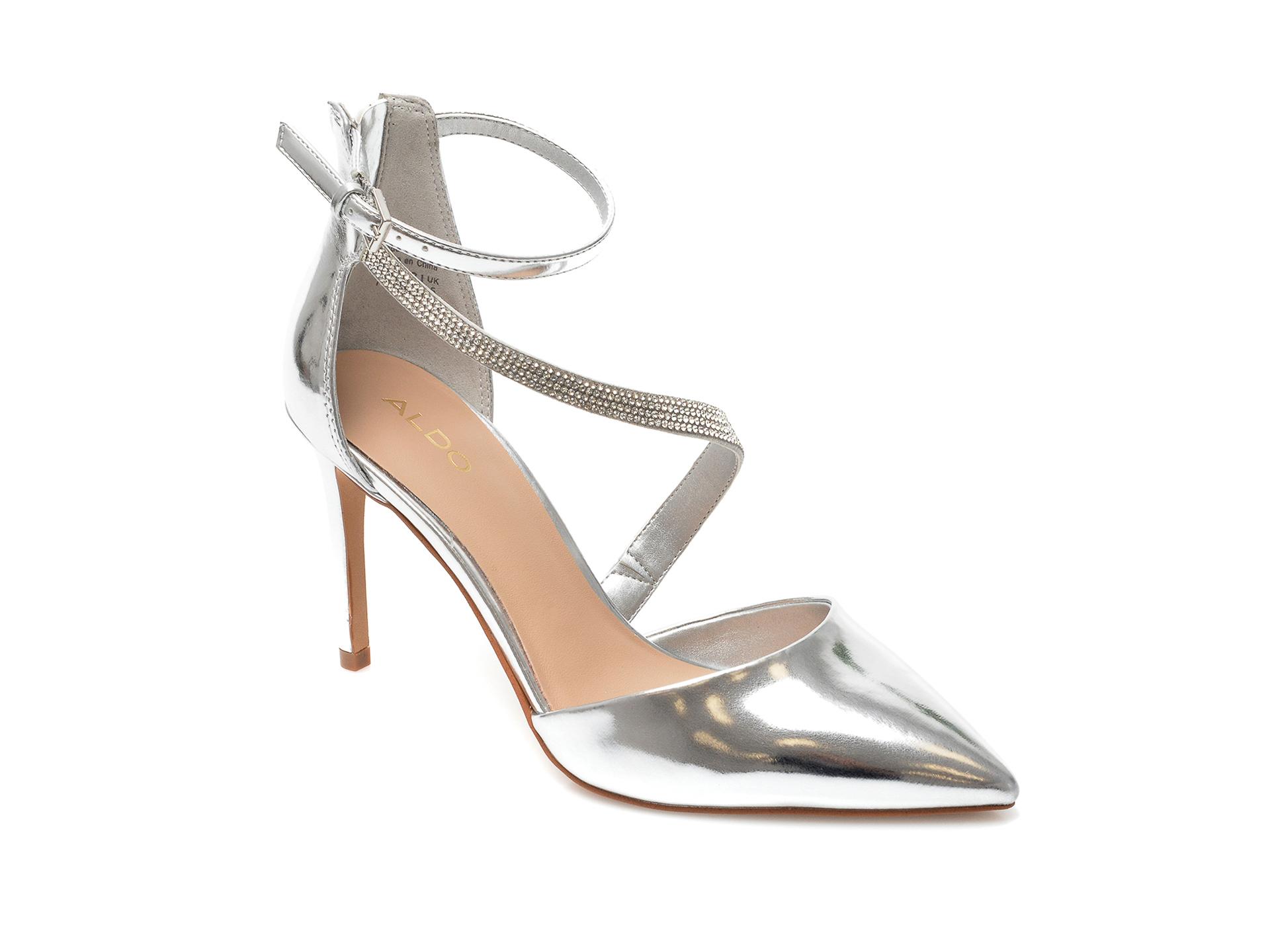 Pantofi ALDO argintii, Roivia040, din piele ecologica