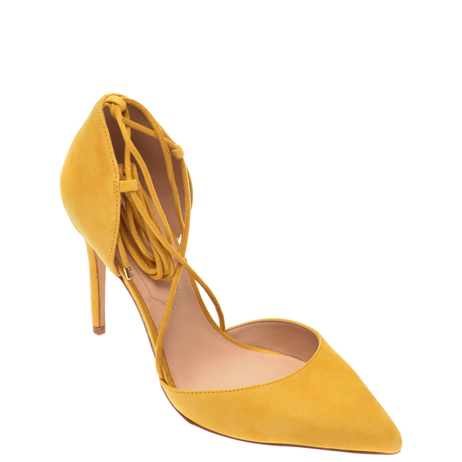 Pantofi ALDO galbeni, Finsbury730, din piele intoarsa New