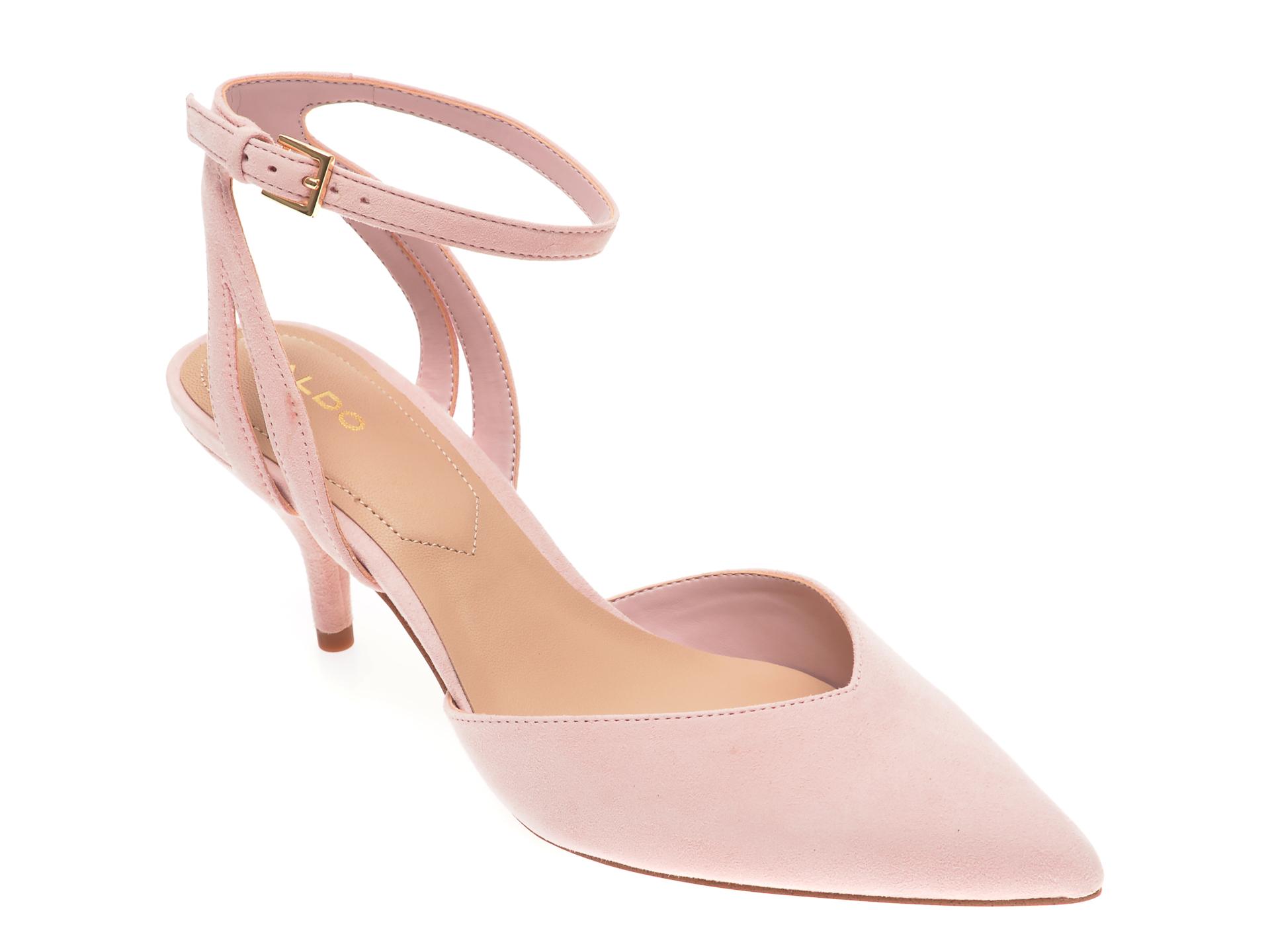Pantofi ALDO roz, Krasnoya680, din piele intoarsa