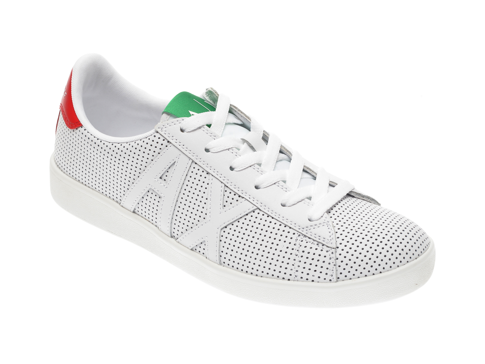 Pantofi ARMANI EXCHANGE albi, XUX016, din piele ecologica