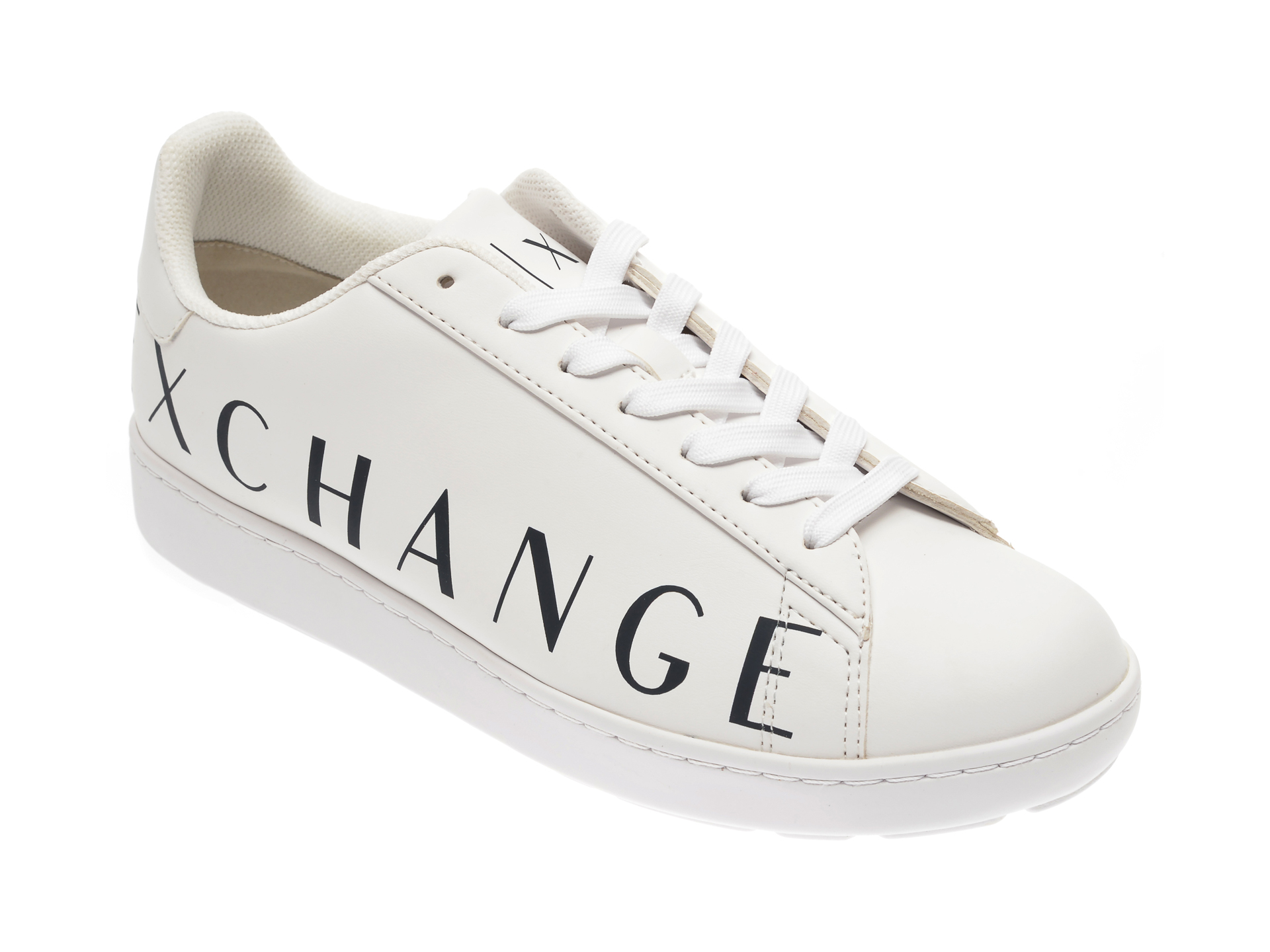 Pantofi ARMANI EXCHANGE albi, XUX033, din piele ecologica
