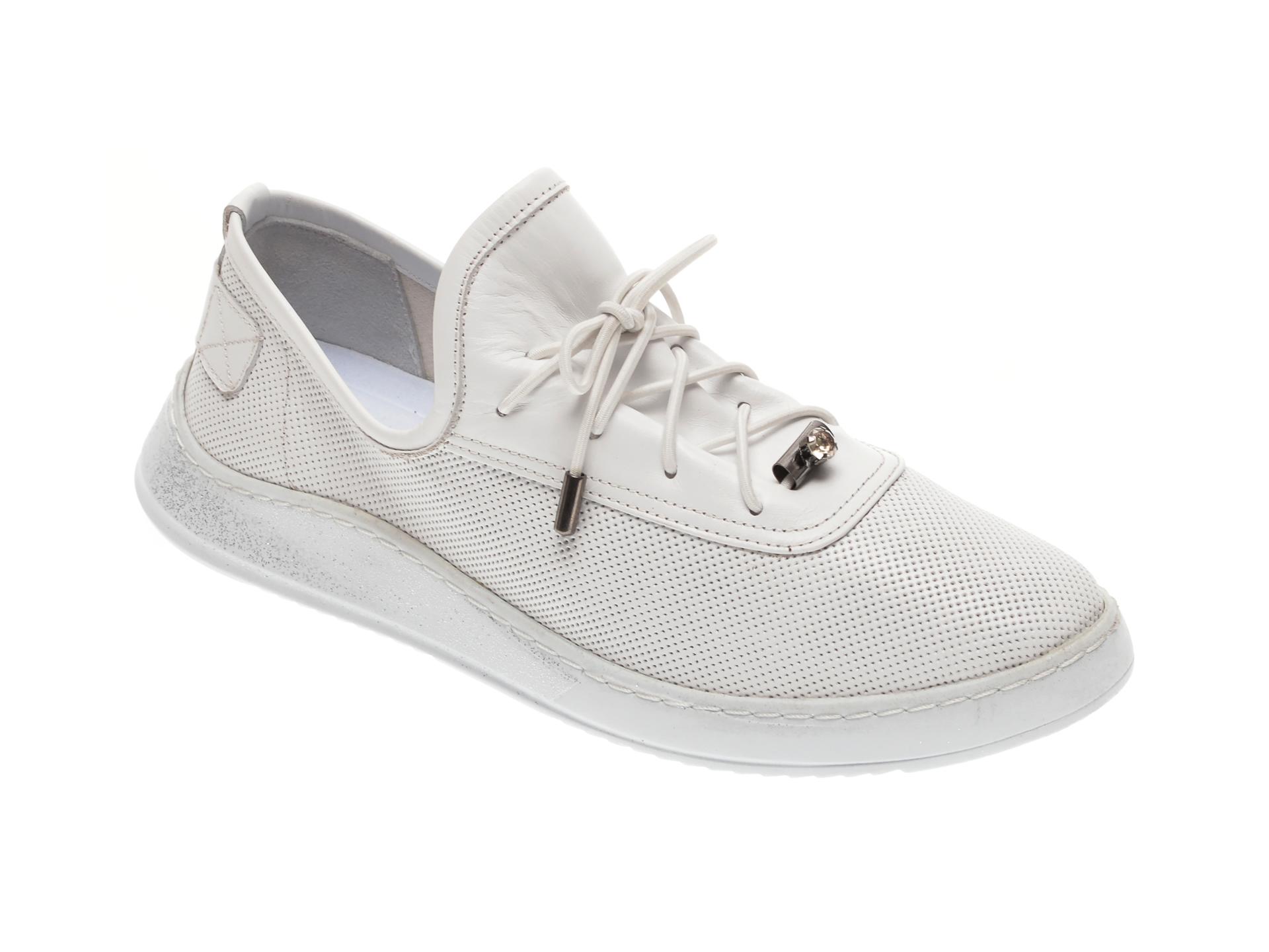 Pantofi BABOOS albi, 0908, din piele naturala