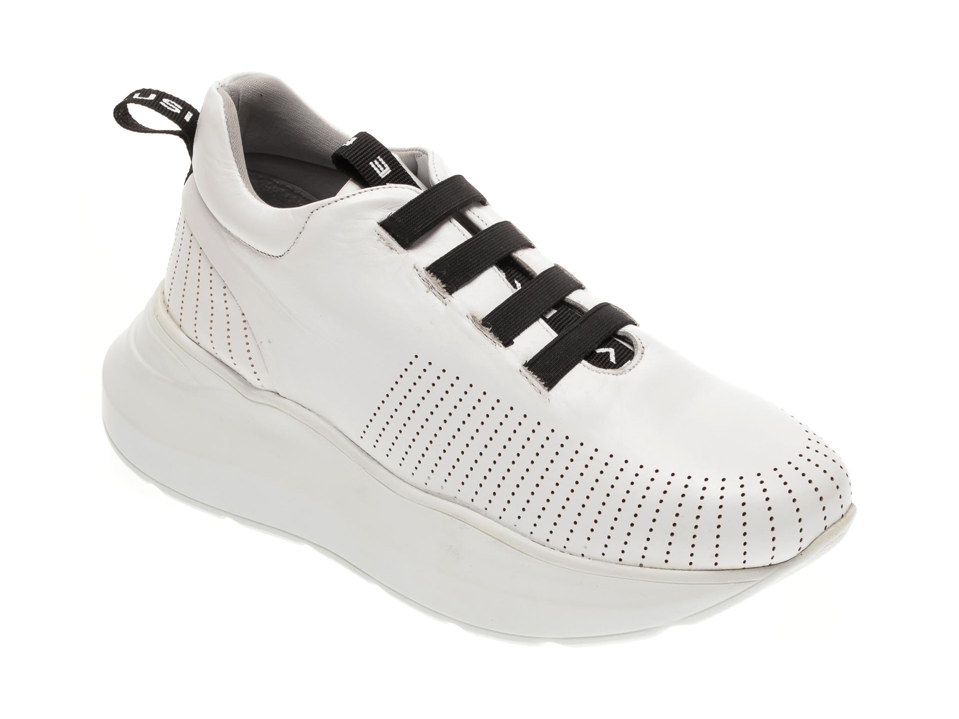 Pantofi BABOOS albi, 1302, din piele naturala