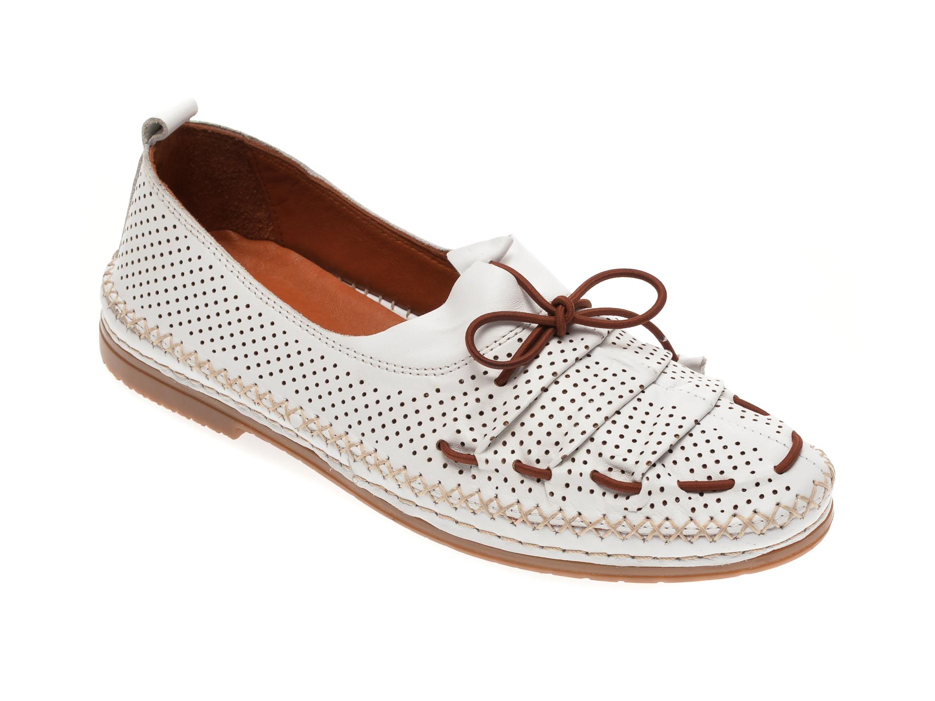 Pantofi BABOOS albi, 1557011, din piele naturala
