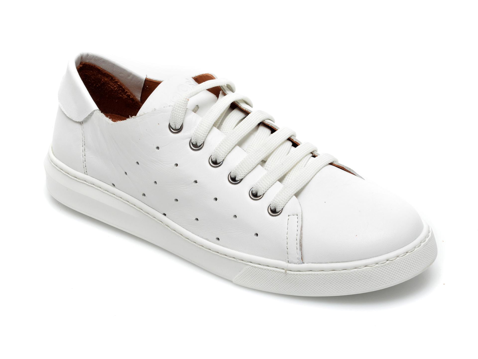 Pantofi BABOOS albi, 2301, din piele naturala