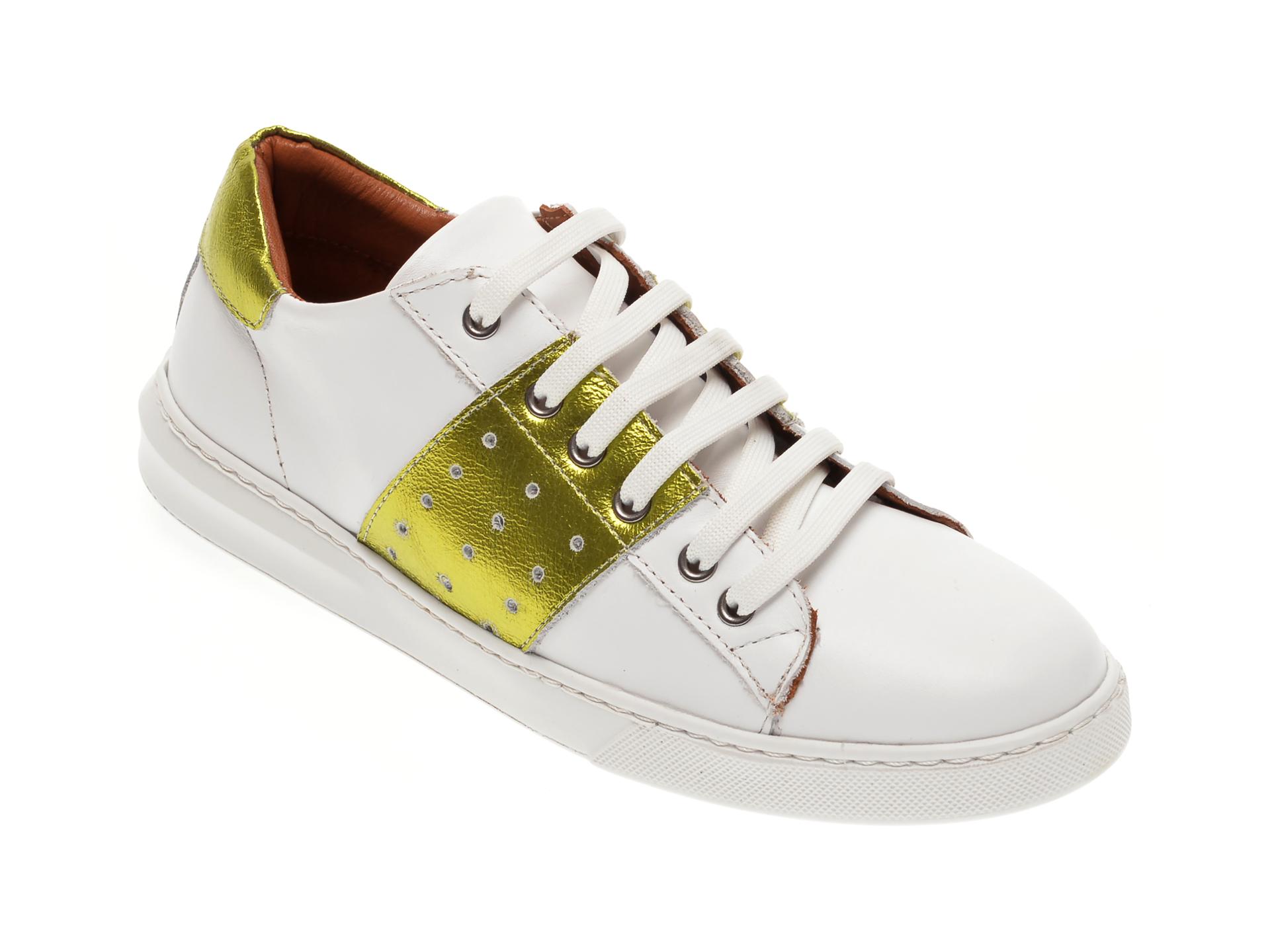 Pantofi BABOOS albi, 2303, din piele naturala