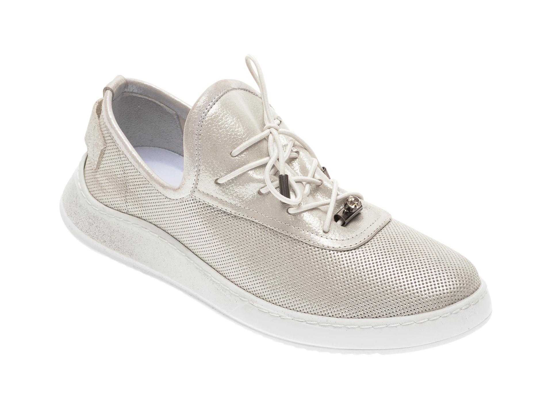 Pantofi BABOOS argintii, 0908, din piele naturala