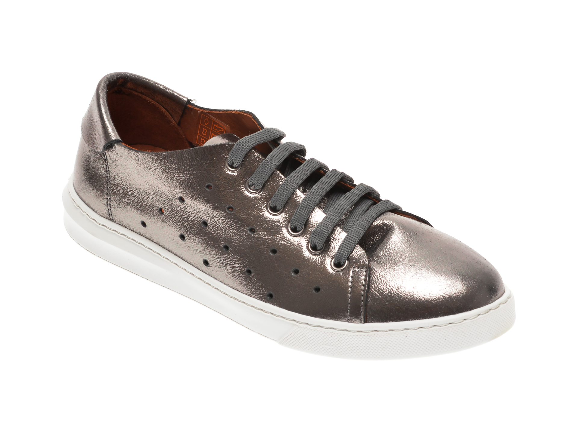 Pantofi BABOOS argintii, 2301, din piele naturala imagine